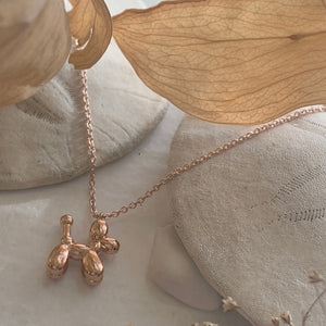 Tiny Balloon Dog Charm Pendant Necklace in Gold, silver and rose gold