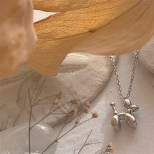 Load image into Gallery viewer, Tiny Balloon Dog Charm Pendant Necklace in Gold, silver and rose gold