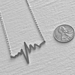 Tiny EKG Charm Necklace in Silver