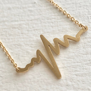 Tiny EKG Charm Necklace In Gold