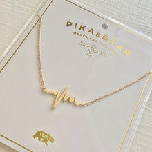 Load image into Gallery viewer, Tiny EKG Charm Necklace In Gold on Gift Card