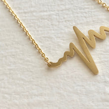 Load image into Gallery viewer, Tiny EKG Charm Necklace In Gold
