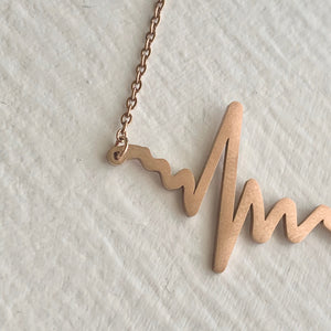 Tiny EKG Charm Necklace In Rose Gold