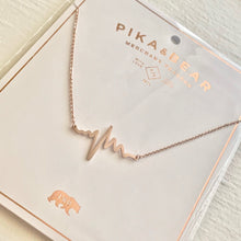 Load image into Gallery viewer, Tiny EKG Charm Necklace In Rose Gold on Gift Card