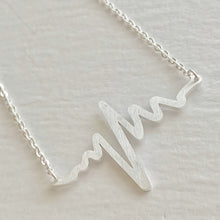 Load image into Gallery viewer, Tiny EKG Charm Necklace In Silver
