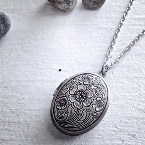 Oval Antique Silver Floral Locket Necklace
