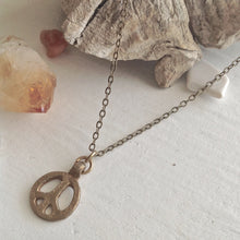 Load image into Gallery viewer, Tiny rustic peace sign charm necklace in cast brass