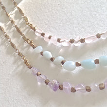 Load image into Gallery viewer, Ornate beaded necklace with natural stones rose quartz, freshwater pearls, amethyst, honey jade, and  amazonite