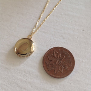 Minimal Round Locket Charm Necklace in Gold