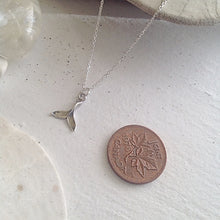 Load image into Gallery viewer, Tiny Sterling Silver whale tail charm necklace