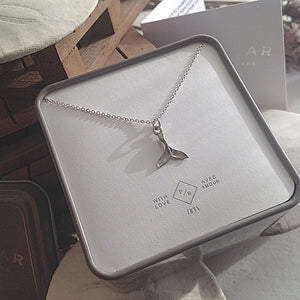 Tiny Sterling Silver whale tail charm necklace