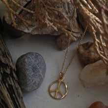 Load image into Gallery viewer, Gold filled Peace Sign Dainty Charm Necklace