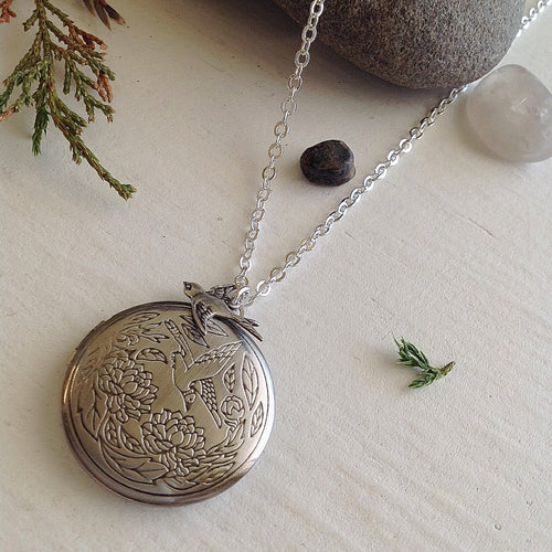 Antiqued Silver Vintage Bird Locket Pendant on long silver chain