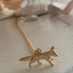 Tiny Gold Fox Charm Pendant Necklace