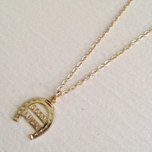 "Load image into Gallery viewer, limited Vintage ""Good Luck"" horseshow charm necklace in gold"