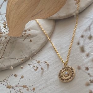 Dainty Rose Window Charm Necklace with opal in Gold
