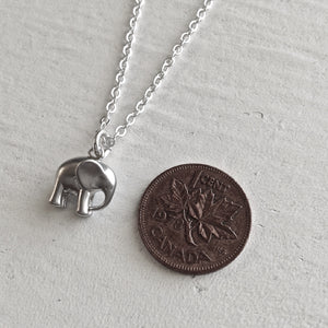 Tiny Elephant Charm Necklace in Gold and Silver