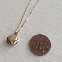 Load image into Gallery viewer, Gold Filled Tiny Seashell charm necklace on vermeil chain