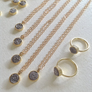 Dainty Druzy Pendant charm Necklace in Gold, and silver