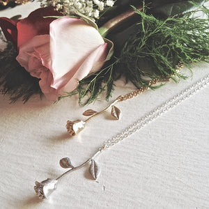 Long Rose Charm Necklace