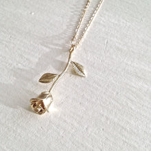 Load image into Gallery viewer, Long Rose Charm Necklace in Gold