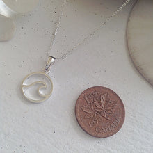 Load image into Gallery viewer, Sterling Silver Cresting Wave Pendant Charm Necklace