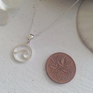 Sterling Silver Cresting Wave Pendant Charm Necklace