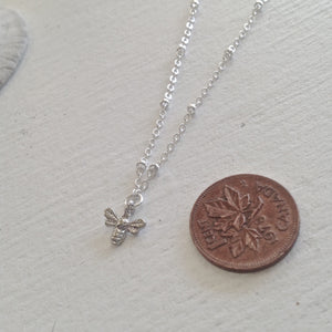 Tiny Bee Pendant Charm Necklace Available in Gold and SIlver