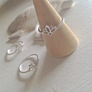 """Mali"" Lotus Blossom Ring in Sterling Silver"