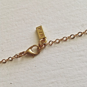 Pika and Bear Logo on Long Gold Necklace with Clasp