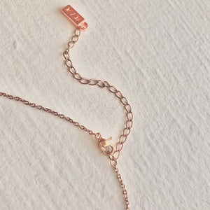 Pika & Bear Logo on Tiny Necklace in Rose Gold Extender Chain With Clasp