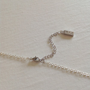 Pika & Bear Logo on Tiny Necklace in Silver Extender Chain With Clasp