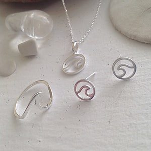 Breaking ocean wave ring, necklace and stud earrings in sterling  silver