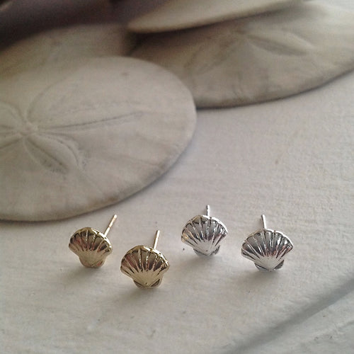 Gold and Silver Seashell Stud Earrings