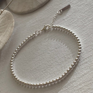 """Nala"" Sterling Silver Spinning Ball Beaded Bracelet"