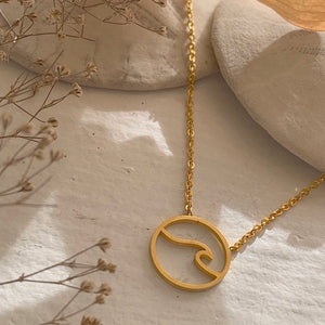 Cresting Wave Ocean Charm Necklace in Gold, SIlver and Rose Gold  Edit alt text