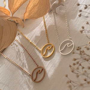 Cresting Wave Ocean Charm Necklace in Gold, SIlver and Rose Gold