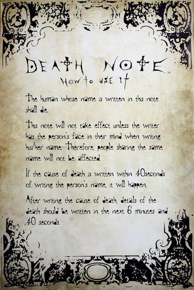 Death Note - Poster Regras Popstore
