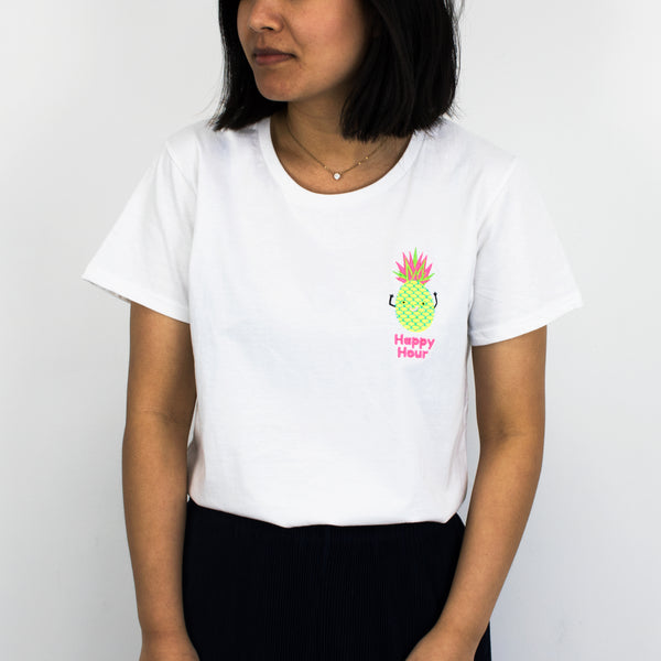 Happy Hour Neon Embroidered Women's Slogan T Shirt