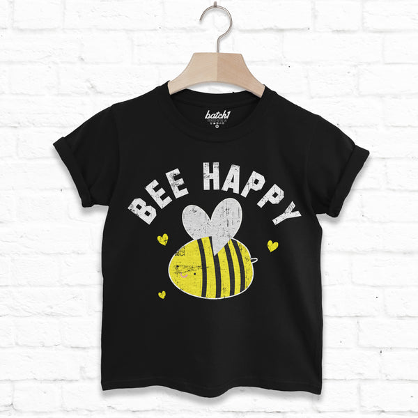 Bee Happy Children's Slogan T Shirt