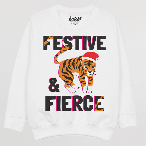 Festive and Fierce Children's Christmas Jumper