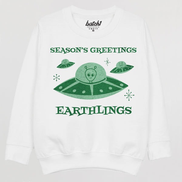 Seasons Greetings Earthlings Children's Christmas Jumper