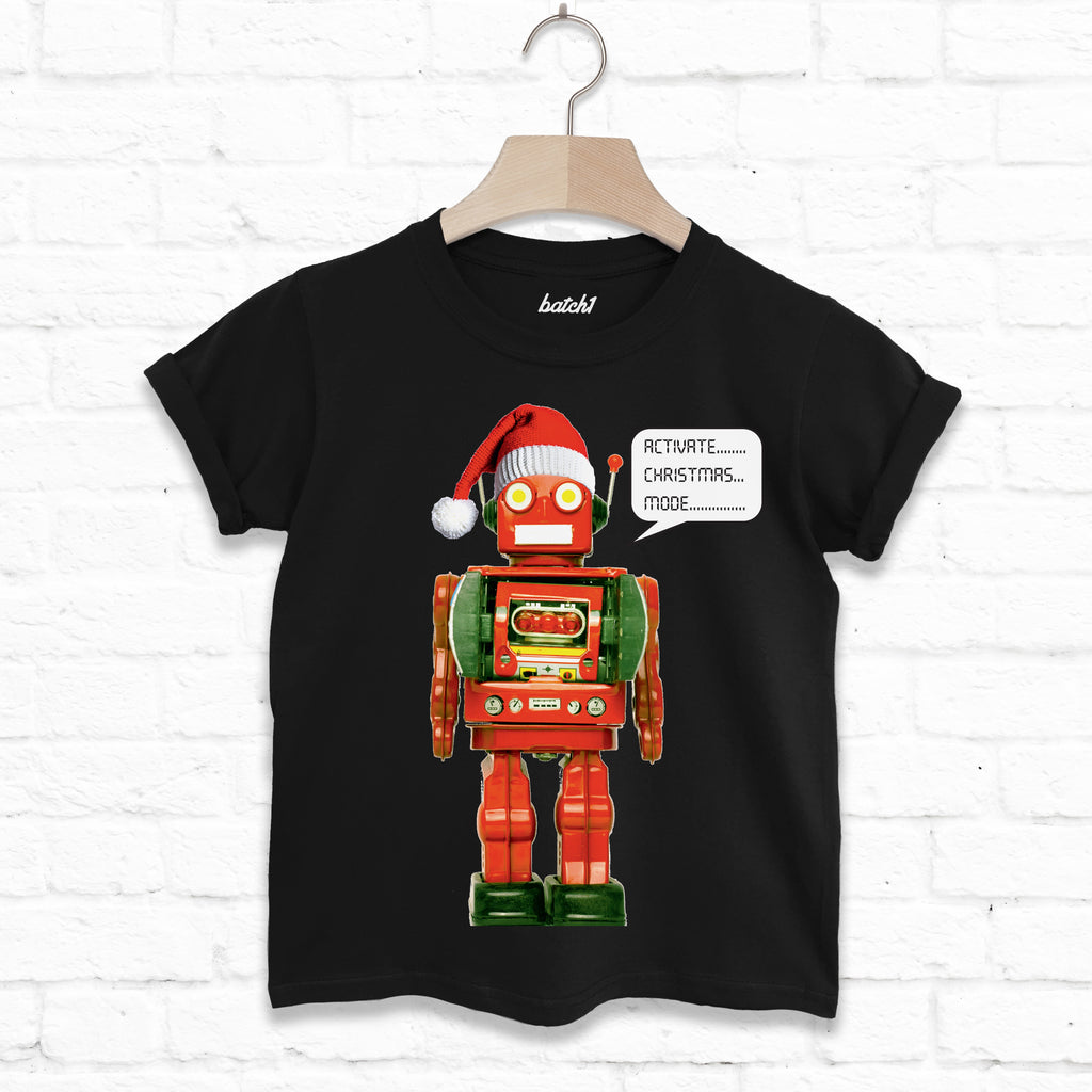 Activate Christmas Mode Kids Christmas Robot Costume T Shirt