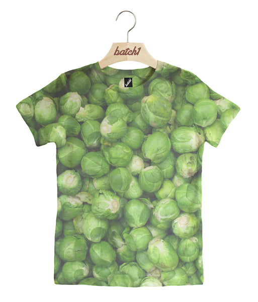 BATCH1 CHRISTMAS BRUSSELS SPROUTS ALL OVER PRINT XMAS KIDS FESTIVE T-SHIRT
