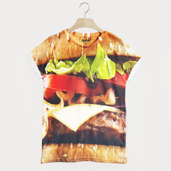 Burger All Over Photo Print Unisex Junk Food Fashion T-Shirt