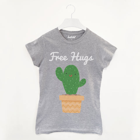 Free Hugs Cactus Slogan Women's T-Shirt