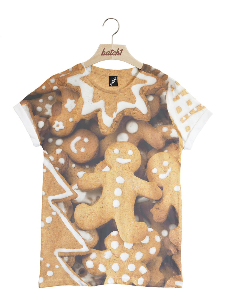 BATCH1 GINGERBREAD MEN CHRISTMAS NOVELTY ALL OVER PRINT UNISEX XMAS T-SHIRT