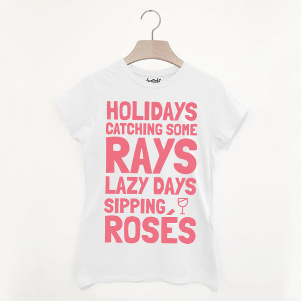 Sipping Rosé Women's Summer Holiday Slogan T Shirt