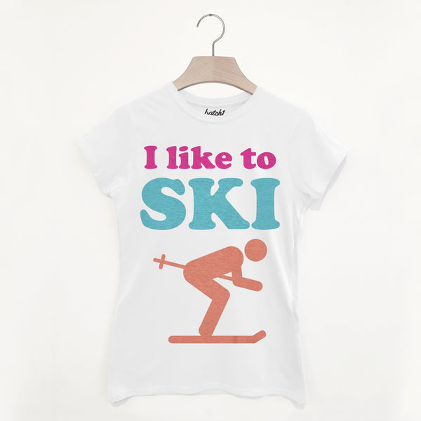 I Like To Ski – Women's Bright Retro Après Ski Snowboard Slogan T-Shirt