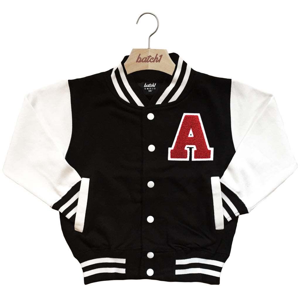 BATCH1 KIDS VARSITY BASEBALL JACKET PERSONALISED WITH GENUINE US COLLEGE LETTER A